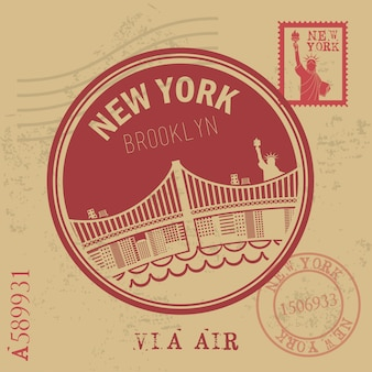 Conception de new york au cours de l'illustration vectorielle fond vintage