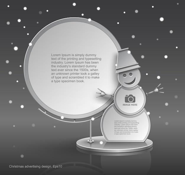 Conception de noël, bonhomme de neige