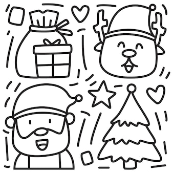 Conception de noël dessin animé doodle kawaii