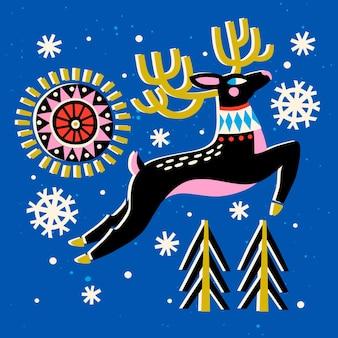 Conception de noël avec des rennes et des flocons de neige