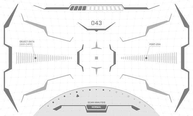 Conception en noir et blanc de l'écran en forme de croix d'interface vr hud. visière d'affichage tête haute en réalité virtuelle de science-fiction futuriste. illustration eps vectorielle du panneau de tableau de bord du centre de contrôle de la technologie numérique de l'interface utilisateur graphique