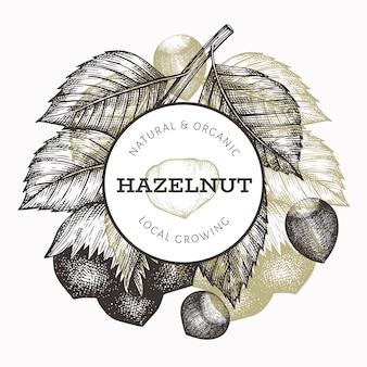 Conception de noisette croquis dessinés à la main. illustration des aliments biologiques sur fond blanc. illustration de noix vintage. fond botanique de style gravé.