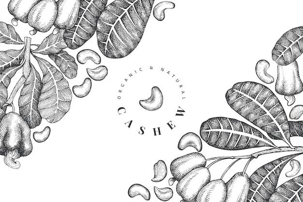 Conception de noix de cajou croquis dessinés à la main