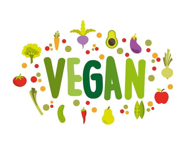 Conception de nourriture végétalienne, illustration vectorielle eps10 graphique