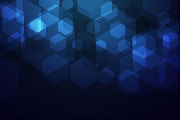 Conception numérique bleue de technologie hexagonale
