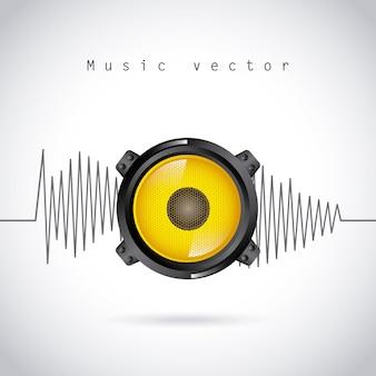 Conception de l'onde sonore au cours de l'illustration vectorielle fond gris