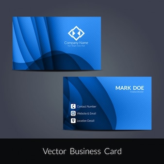 Conception ondulée bleu de carte de visite