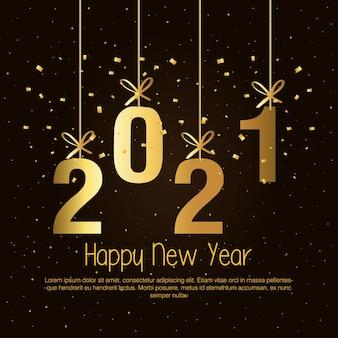 Conception d'or suspendue de bonne année 2021, thème de bienvenue et de bienvenue