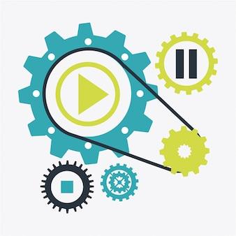 Conception de l'ordinateur au cours de l'illustration vectorielle fond blanc