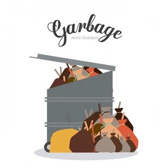 Conception des ordures, illustration vectorielle.