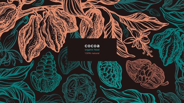 Conception organique de cacao avec des feuilles