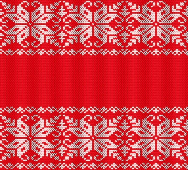 Conception d'ornement géométrique de noël en tricot. fond rouge transparente motif de noël. texture de pull d'hiver tricoté.