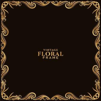 Conception ornementale élégante de cadre floral doré