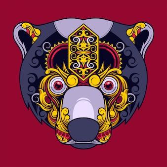 Conception d'ours soleil, tatouage et design de tshirt