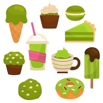 Conception de pack de desserts au matcha