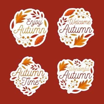 Conception de pack d'étiquettes d'automne