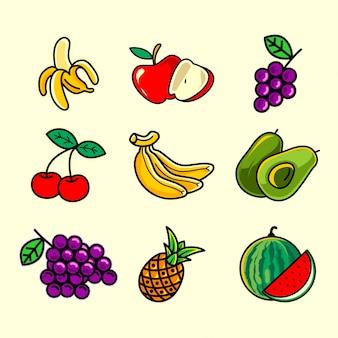Conception de pack d'illustration de fruits