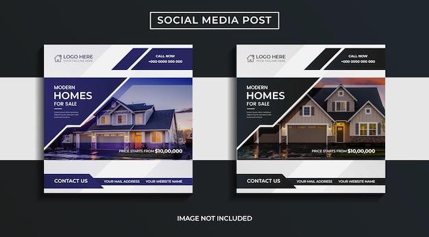 Conception de pack de publications sur les réseaux sociaux immobiliers modernes
