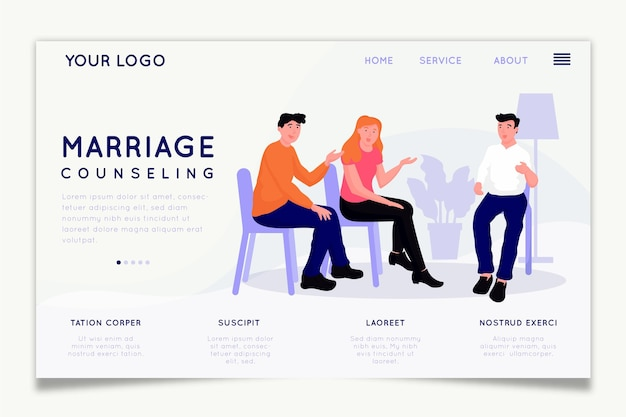 Conception de page d'accueil de conseil de mariage