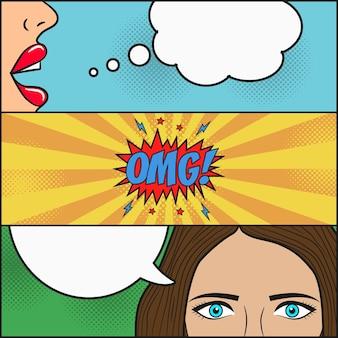 Conception de page de bande dessinée dialogue de deux filles avec bulle de dialogue avec émotions omg
