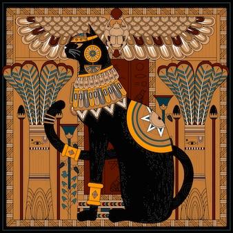 Conception de page de coloriage de chat élégant dans le style égyptien