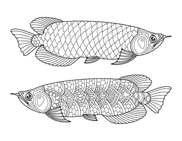 Conception de page de coloriage poisson arowana fond clair