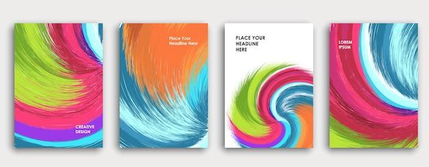 Conception de page de couverture de livre coloré. abstrait. explosion de peinture. affiche, rapport annuel d'entreprise, brochure a4, maquette de magazine créatif. coups de pinceau lumineux. vecteur multicolore.