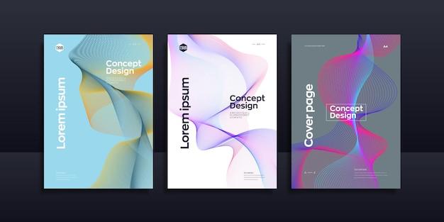 Conception de page de couverture de vague de ligne colorée