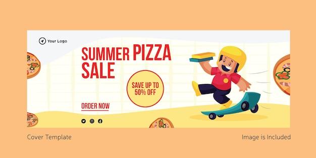 Conception de page de couverture de vente de pizza d'été