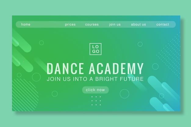 Conception de la page de destination de l'académie de danse