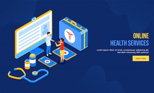 Conception de page de destination basée sur le concept de soins de santé en ligne.