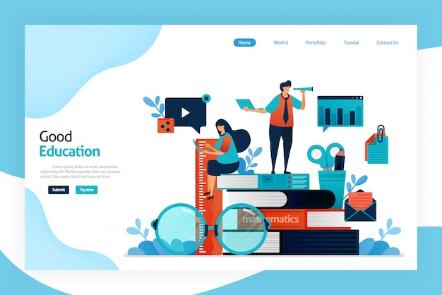 Conception de la page de destination d'une bonne éducation