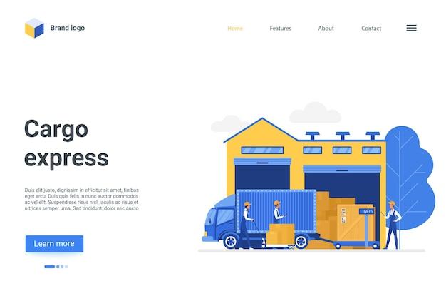 Conception de page de destination de dessin animé, site web pour l'illustration de l'entreprise d'entreposage