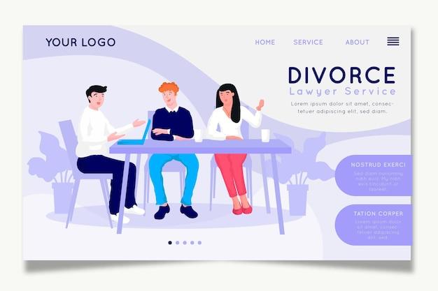 Conception de la page de destination du service des avocats en divorce
