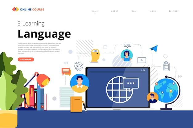 Conception de la page de destination du site web éducation en ligne cours de langue