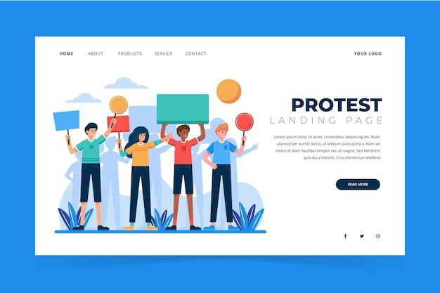 Conception de la page de destination de la grève de protestation