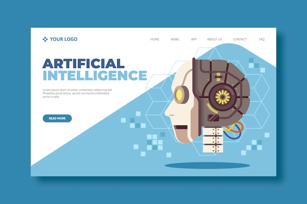 Conception de page de destination d'intelligence artificielle pour site web