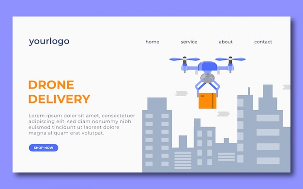 Conception de la page de destination de la livraison par drone