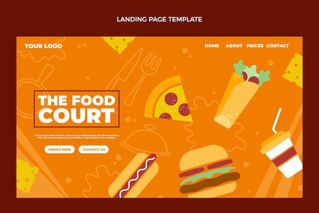 Conception de page de destination de nourriture plate