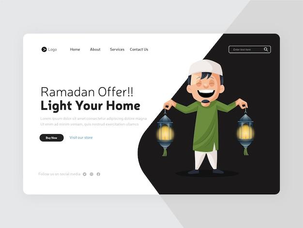 Conception de la page de destination de l'offre ramadan