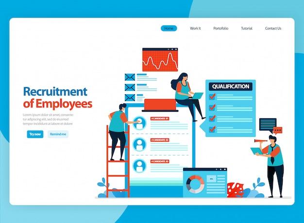 Conception de la page de destination pour l'illustration du recrutement des employés. choisissez les meilleurs travailleurs potentiels. dessin animé plat