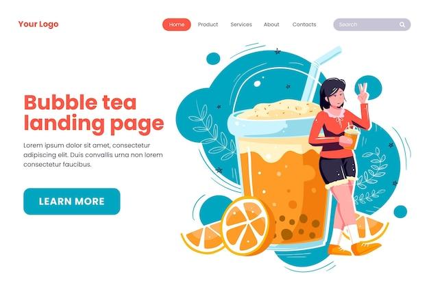 Conception de page de destination pour le thé aux bulles