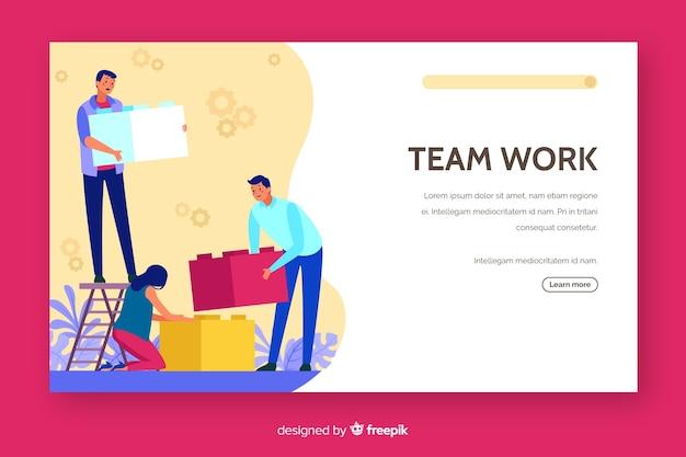 Conception d'une page de destination pour le travail d'équipe corporative
