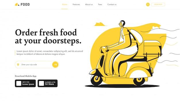 Conception de la page de destination avec un scooter de livraison et un emballage pour commander des aliments frais