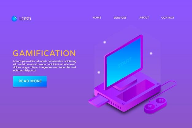 Conception d'une page de renvoi ou d'un modèle web. gamification