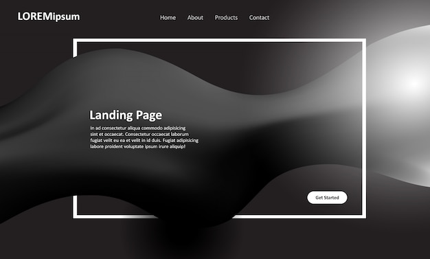 Conception de pages de destination pour sites web en noir et blanc