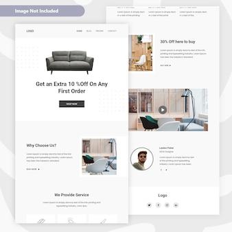Conception de pages de destination pour la vente de meubles