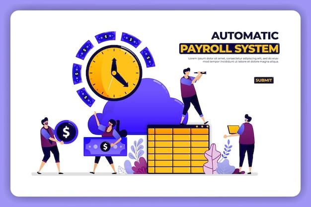 Conception de pages mobiles du système de paie automatique. système de comptabilité de chèque de paie bancaire.
