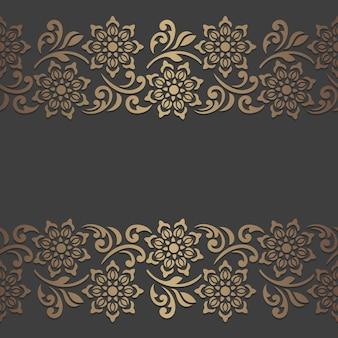 Conception de panneau découpé au laser avec des éléments floraux. modèle de bordure vintage orné.