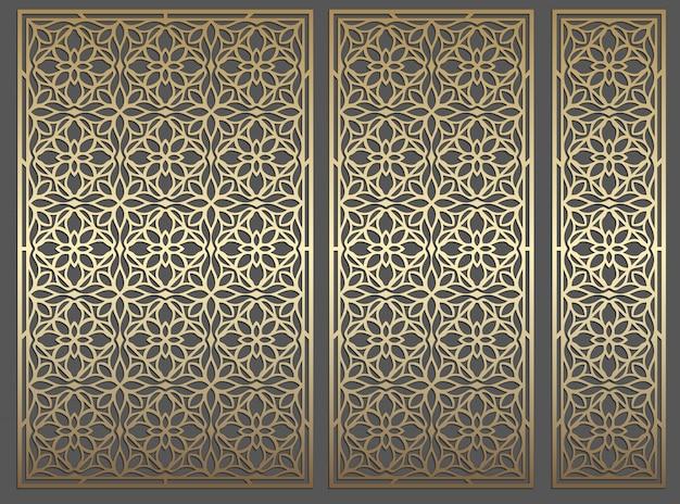 Conception de panneaux découpés au laser. modèle de bordure de vecteur vintage répétitif orné pour la découpe laser, les vitraux, la gravure sur verre, le sablage, la sculpture sur bois, la fabrication de cartes, les invitations de mariage.